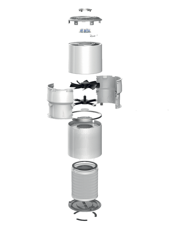 Vue éclatée air purifier purificateur d'air detoximix